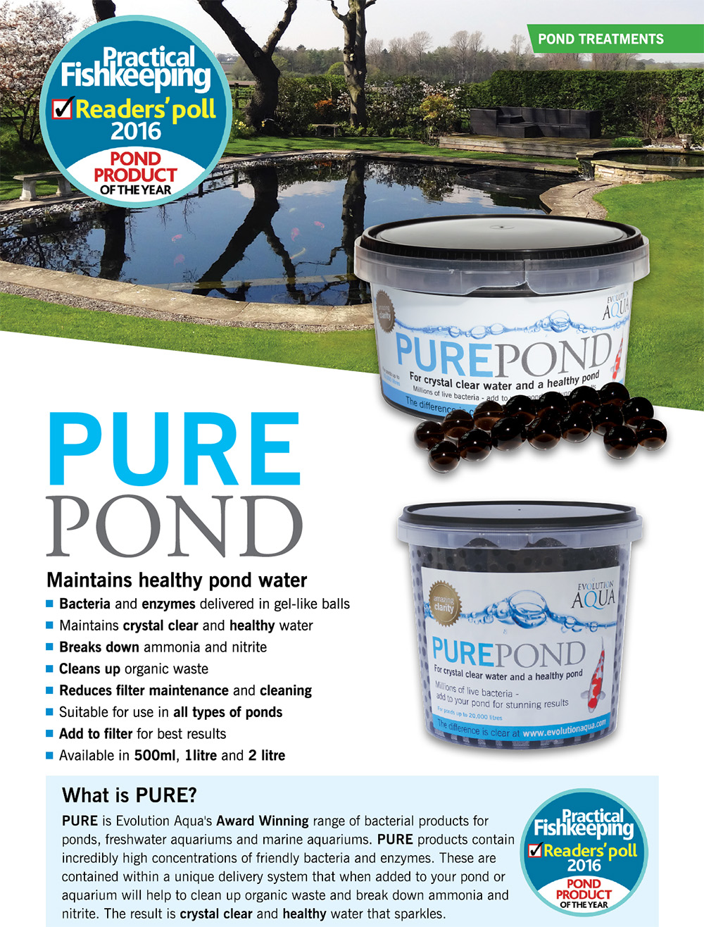 Evolution Aqua Pure Pond Black balls informace