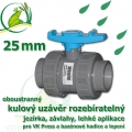 kulový ventil 25 mm, oboustranně rozpojitelný, napojení lepení/lepení