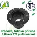 PVC příruba fóliová 110 mm, fóliový prostup extra, RTF, zkrácený