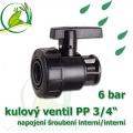 kulový ventil PP 3/4, 6 bar, jednostranně rozpojitelný, napojení oboustranné vnitřní šroubení 3/4