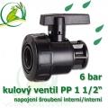 kulový ventil PP 1 1/2, 6 bar, jednostranně rozpojitelný, napojení oboustranné vnitřní šroubení 1 1/2