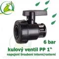 kulový ventil PP 1, 6 bar, jednostranně rozpojitelný, napojení vnitřní šroubení 1 na vnější šroubení 1