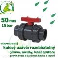 kulový ventil 50 mm PLUS, oboustranně rozpojitelný, napojení lepení/lepení