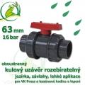 kulový ventil 63 mm PLUS, oboustranně rozpojitelný, napojení lepení/lepení