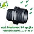 nipl 2 na 1 1/2, jezírková PP spojka redukce, šroubení externí 2 na externí 1 1/2