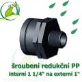 šroubení jezírková PP redukce, interní 1 1/4 na externí 1