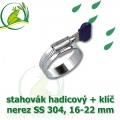 Spona, stahovák 16-22 mm, nerez, S304 s klíčem