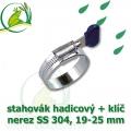 Spona, stahovák 19-25 mm, nerez, S304 s klíčem
