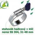 Spona, stahovák 31-48 mm, nerez, S304 s klíčem