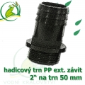 Trn přimý PP, závit ext. 2 na 50 mm