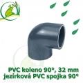 PVC koleno 32 mm, jezírková spojka 90°, lepení/lepení