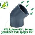 PVC koleno 45°, 90 mm, jezírková spojka 45°, lepení/lepení
