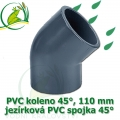 PVC koleno 45°, 110 mm, jezírková spojka 45°, lepení/lepení