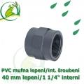PVC spojka lepení 40 mm na 1 1/4 interní šroubení, jezírková