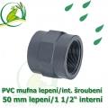 PVC spojka lepení 50 mm na 1 1/2 interní šroubení, jezírková
