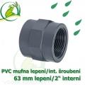 PVC spojka lepení 63 mm na 2 interní šroubení, jezírková