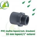 PVC spojka lepení 32 mm na 1 externí šroubení, jezírková