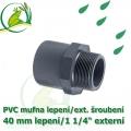 PVC spojka lepení 40 mm na 1 1/4 externí šroubení, jezírková