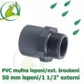 PVC spojka lepení 50 mm na 1 1/2 externí šroubení, jezírková