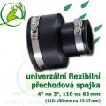 Flexibilní redukce 110 x 63 mm, 4 na 2 couly (110-100 na 63-57)