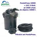Tlaková filtrační sada Pontec PondoPress 10000, pro jezírka do 10000 litrů, UV-C 9 Watt, max. průtok 2500 l/h, hadice 5m