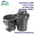 Tlaková filtrační sada Pontec PondoPress 15000, pro jezírka do 15000 litrů, UV-C 11 Watt, max. průtok 2500 l/h, hadice 4,5m