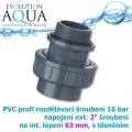 PVC šroubení, rozpojitelné, profi 16 bar, externí závit 2 na 63 mm interní lepení