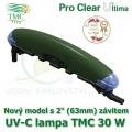 UV-C lampa TMC 30 W, UVC zářič TMC Pro Clear Ultima 30 Watt, nový model s trny na 25-40 mm hadice a napojení na 1 1/2 - 2, nebo 50-63 mm