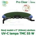 UV-C lampa TMC 55 W, UVC zářič TMC Pro Clear Ultima 55 Watt, nový model s trny na 25-40 mm hadice a napojení na 1 1/2 - 2, nebo 50-63 mm