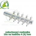 Pochromovaný rozdělovač, vzduchovací rozdvojka 4 (6) mm - 10 vývodů