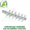 Pochromovaný rozdělovač, vzduchovací rozdvojka 4 (6) mm - 12 vývodů