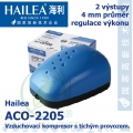 Vzduchovací kompresor tichý Hailea ACO-2205, 2x2 l/min, 5 Watt, do 40 db,