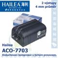 Vzduchovací kompresor tichý Hailea ACO-7703, 2x5 l/min, 5 Watt, do 40 db,
