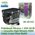 Průtoková filtrace Velda Cross-Flow Biofill set, UVC lampa 18 Watt, čerpadlo High Stream 4500 pro jezírka do 10 m3