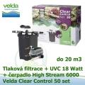 Tlaková filtrace Velda Clear Control 50 Set, UVC lampa 9 Watt, čerpadlo High Stream 6000 pro jezírka do 20 m3