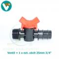 Ventil + 1 x ext. závit 20mm 3/4 Inch