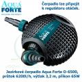 Jezírkové čerpadlo Aqua Forte O-6500, průtok 6200l/h, výtlak 3,2 m, příkon 65W - Výprodej