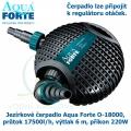 Jezírkové čerpadlo Aqua Forte O-18000, průtok 17500l/h, výtlak 6 m, příkon 220W - Výprodej