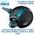 Jezírkové čerpadlo Aqua Forte O-15000 Plus, průtok 15000l/h, výtlak 6 m, příkon 135W - Výprodej