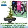 Osvětlený plovoucí květinový ostrov - Velda Floating Plant Light 40 cm, 12V/2,2Watt