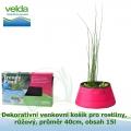 Dekorativní venkovní košík pro rostliny, růžový, průměr 40cm, obsah 15l - Velda Trendy Pond