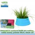 Dekorativní venkovní košík pro rostliny, světle modrý, průměr 50cm, obsah 25l - Velda Trendy Pond