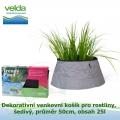 Dekorativní venkovní košík pro rostliny, šedivý, průměr 50cm, obsah 25l - Velda Trendy Pond