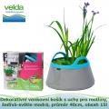 Dekorativní venkovní košík s uchy pro rostliny, šedivá-světle modrá, průměr 40cm, obsah 15l - Velda Colour Pond