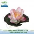 Lotos růžový na listu 15 cm - Velda Lotus on leaf pink