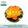 Lotosový květ na listu oranžový 17 cm - Velda Lotus foam orange