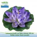 Lotosový květ na listu vínový 20 cm - Velda Lotus foam purple