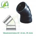 Oboustranné koleno 45°, 32 mm , PP, černá
