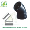 Oboustranné koleno 45°, 40 mm , PP, černá
