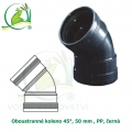 Oboustranné koleno 45°, 50 mm , PP, černá